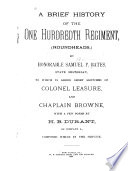 A Brief History of the One Hundredth Regiment  Roundheads   Book
