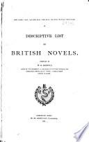 Descriptive List s  of Novels and Tales      British novels  1891
