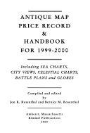 Antique Map Price Record   Handbook for