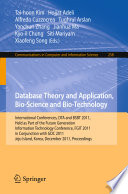 Database Theory And Application Bio Science And Bio Technology