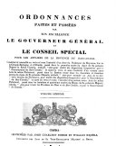 Ordinances Made and Passed by His Excellency the Governor General and Special Council for the Affairs of the Province of Lower Canada ...