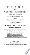 Poems on Various Subjects; Selected to Enforce the Practice of Virtue