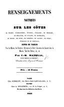 Renseignements nautiques sur les côtes de France, d'Angleterre, etc