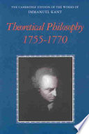 Theoretical Philosophy 1755 1770 Book PDF