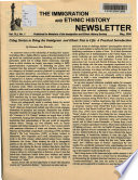 The Immigration and Ethnic History Newsletter  , Volume 41, Issue 1