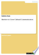 Barriers to Cross Cultural Communication Book