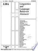 Linguistics and Language Behavior Abstracts  : LLBA. , Volume 42,Edição 1
