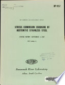 Stress Corrosion Cracking of Austenitic Stainless Steel