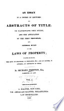 An Essay in a Course of Lectures on Abstracts of Title