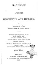 Handbook of Ancient Geography and History by Wilhelm Pu  tz  Principal Turor at the Gymnasium of Du  ren