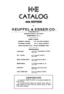 Catalogue of Keuffel & Esser Co., Manufacturers and Importers