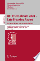 HCI International 2020     Late Breaking Papers  Universal Access and Inclusive Design Book PDF