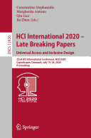 HCI International 2020     Late Breaking Papers  Universal Access and Inclusive Design