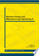 Machine Design and Manufacturing Engineering III
