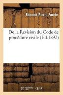 de La Revision Du Code de Procedure Civile