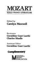 Mozart  Solo Piano Literature