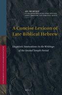 A Concise Lexicon of Late Biblical Hebrew