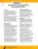 Construction and Demolition Recycling Program