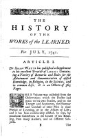 The History of the Works of the Learned ...