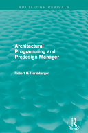 Architectural Programming and Predesign Manager Pdf/ePub eBook