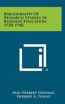Bibliography Of Research Studies In Business Education 1920 1940