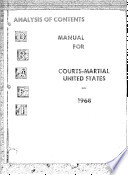 Analysis of Contents Manual for Courts-Martial United States