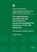 Pdf Pre-Appointment Hearing with the Government's Preferred Candidate for Chairman of the S4C Authority