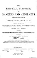 The Gast Paul Directory of Bankers and Attorneys and Digests of the Laws