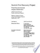 Malheur National Forest  N F    Summit Fire Recovery Project  Grant County