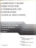Competency Based Objectives For Undergraduate Osteopathic Clinical Education Book PDF