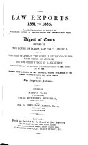 The Law Reports 1881 to 1885