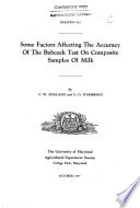Some Factors Affecting the Accuracy of the Babcock Test on Composite Samples of Milk