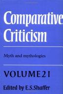 Comparative Criticism  Volume 21  Myth and Mythologies