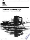 Seminar Proceedings  Implementation of Nonstructural Measures