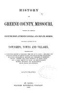 History of Greene County  Missouri