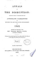Annals of the disruption  1843  selected and arranged by T  Brown