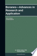 Boranes Advances In Research And Application 2013 Edition Book PDF