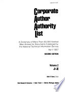 Corporate Author Authority List