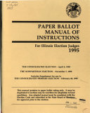 Paper Ballot Manual of Instructions for Illinois Election Judges in the General Primary Election of