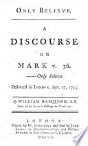 Only Believe  a discourse on Mark v  36