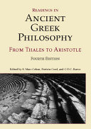 Readings in Ancient Greek Philosophy   Fourth Edition   from Thales to Aristotle