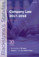 Blackstone's Statutes on Company Law 2017-2018
