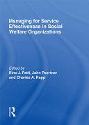 Managing for Service Effectiveness in Social Welfare Organizations Pdf/ePub eBook