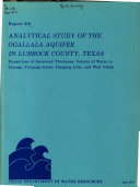Analytical Study Of The Ogallala Aquifer In Lubbock County Texas