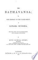 The Dath  vansa Or The History of the Tooth relic of Gotama Buddha Book