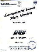 Environmental License Plate Numbers as of