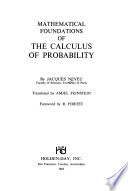 Mathematical foundations of the calculus of probability
