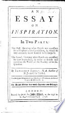 Essay on Inspiration ... The second edition very much corrected and enlarged