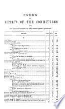 INDEX TO REPORTS OF COMMITTEES OF THE HOUSE REPRESENTATIVES FOR THE SECOND SESSIONS OF THE FORTY-THIRED CONGRESS 1874-75.