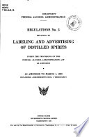 Regulations No  5 Relating to Labeling and Advertising of Distilled Spirits Book